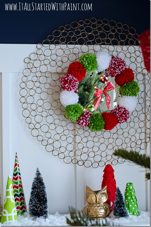 Pom-Pom-Wreath-Holiday-Mantel-3 2