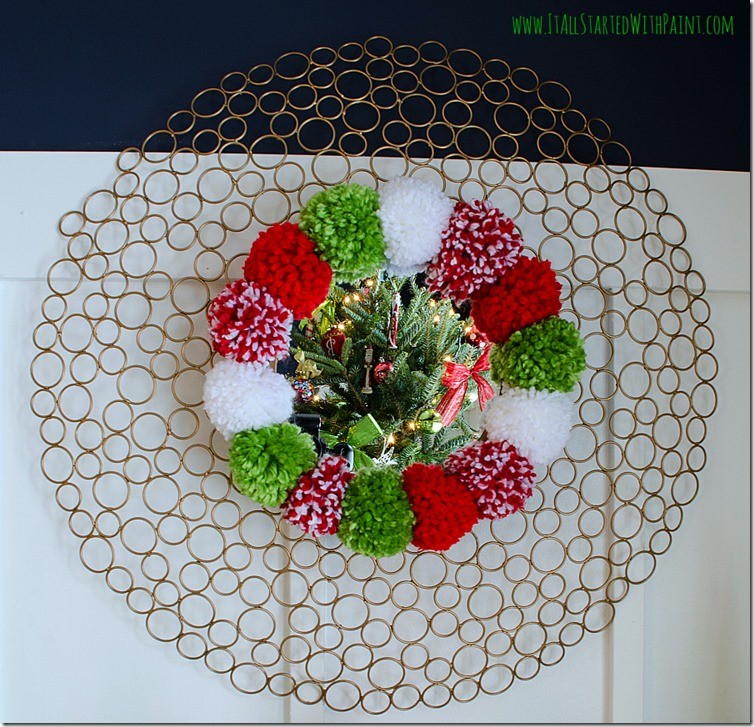 Pom-Pom-Wreath-Holiday-Mantel-6 2