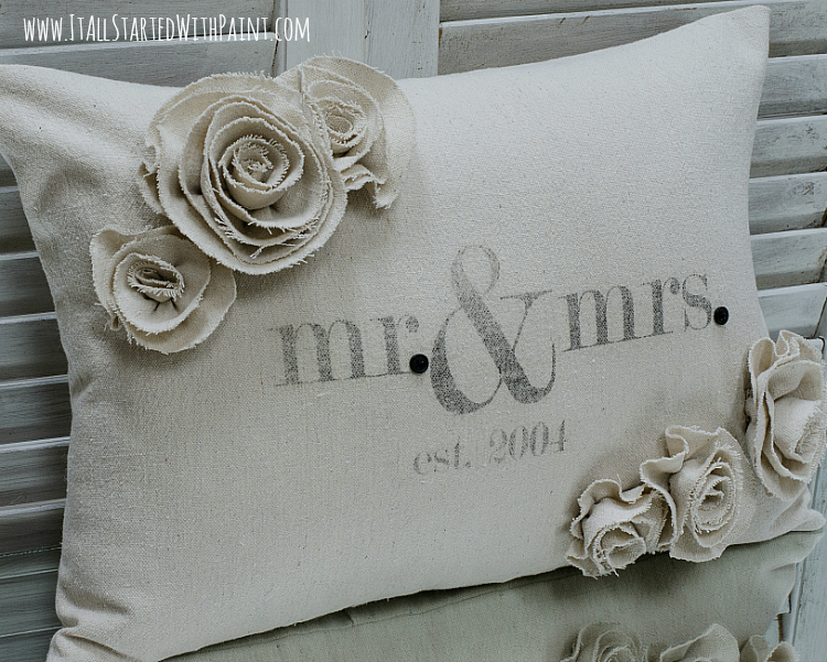 mr and mrs pillow wedding gift