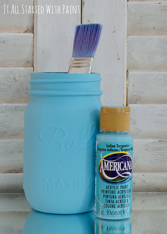 Distressed mason jars tgif this grandma is fun for How to paint bottles with acrylic