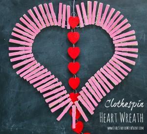valentine craft idea wreath using clothespins