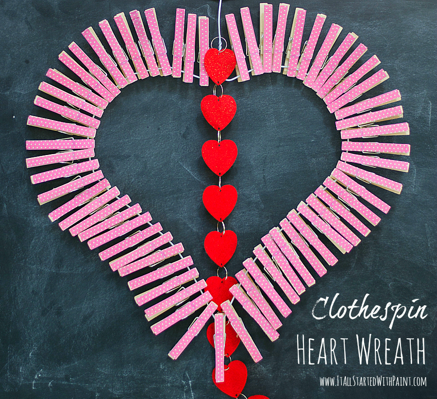 valentine craft idea wreath using clothespins
