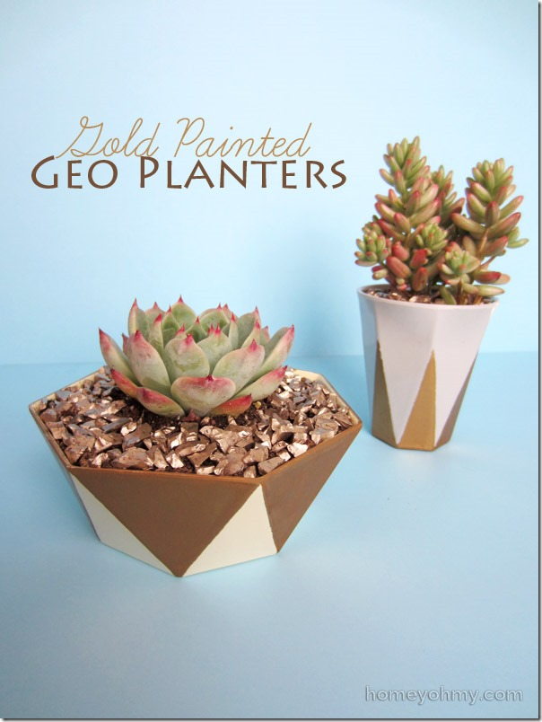 Gold-painted-geo-planters