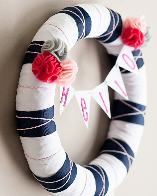 navy white wreath