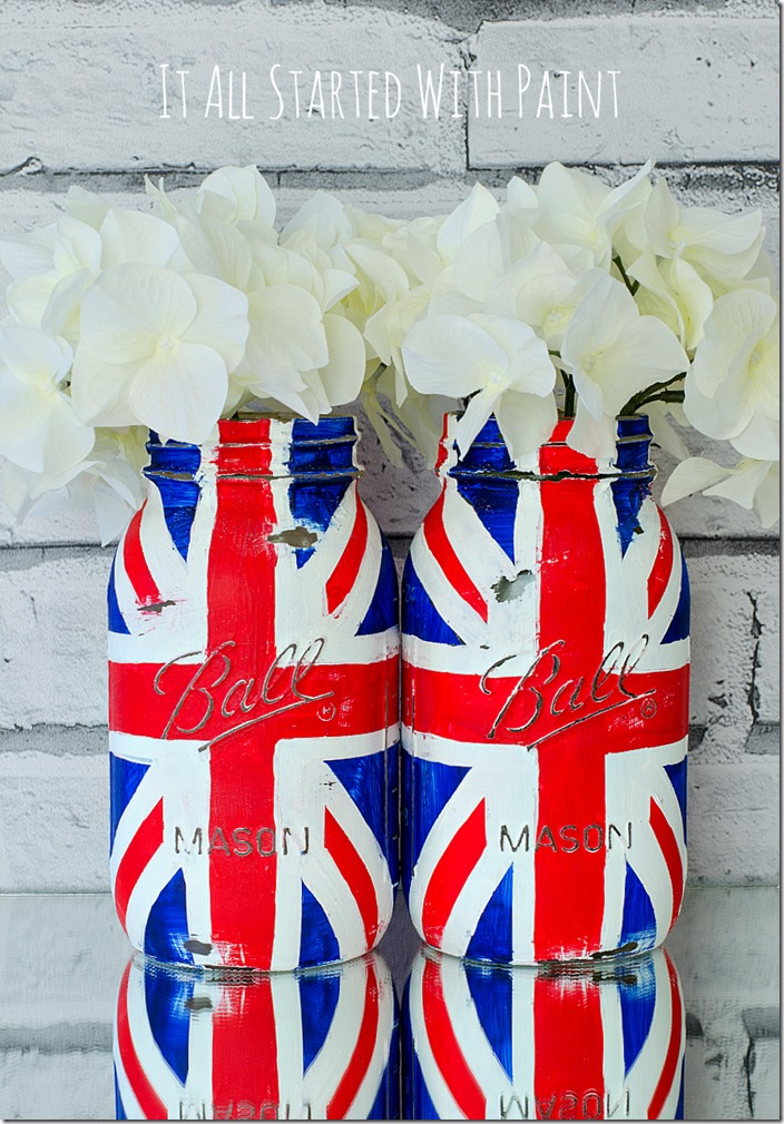 Mason Jar Craft Ideas - Red White Blue Flag