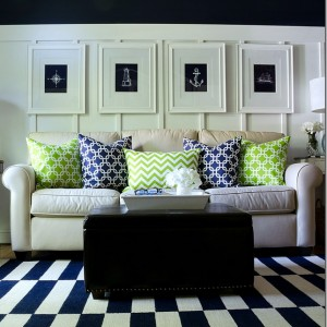 blue green living room