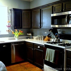 How to paint builder grade oak cabinets