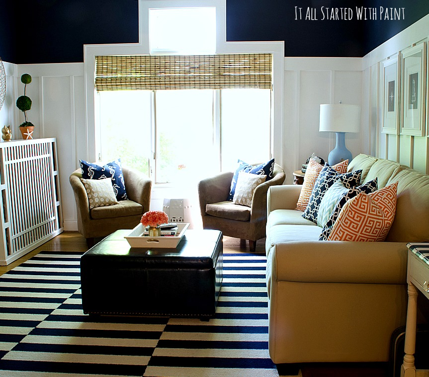 Navy And White Board Batten Living Room Design: Savvy Southern Style : My Favorite Room....It All Started