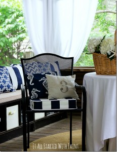 navy white fabric