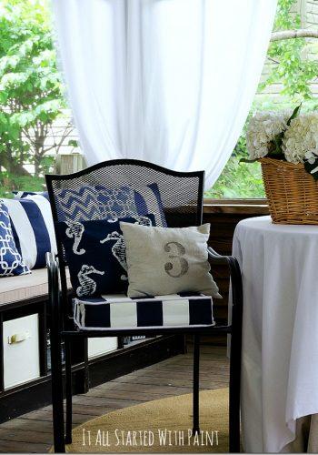 navy white fabric
