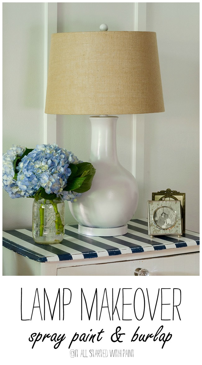 lamp-makeover-spray-paint-burlap collage