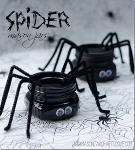 halloween craft spider mason jar