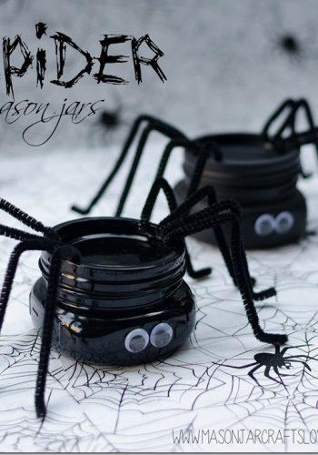 halloween craft spider mason jar