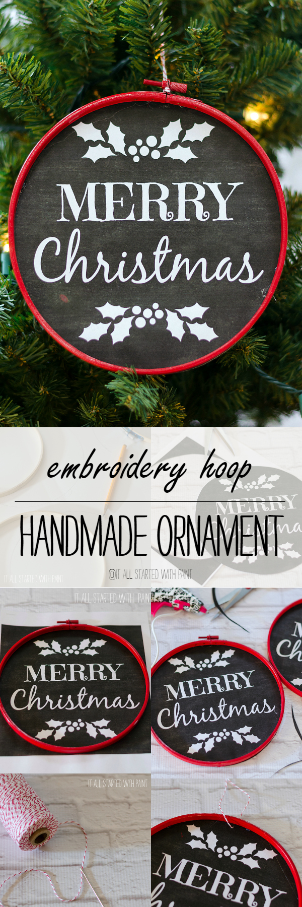 Chalkboard Ornament Look With Embroidery Hoop