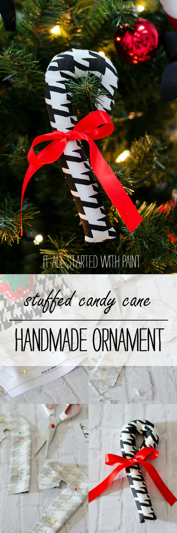 Stuffed Candy Cane Homemade Ornament for Christmas