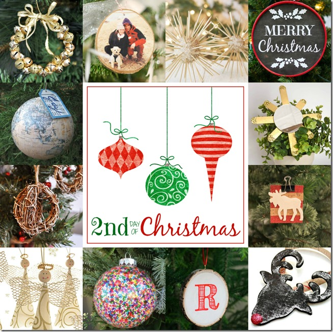 12 Days of Christmas handmade holiday ornaments. 12 Bloggers + 12 Days = 144 handmade ornaments!