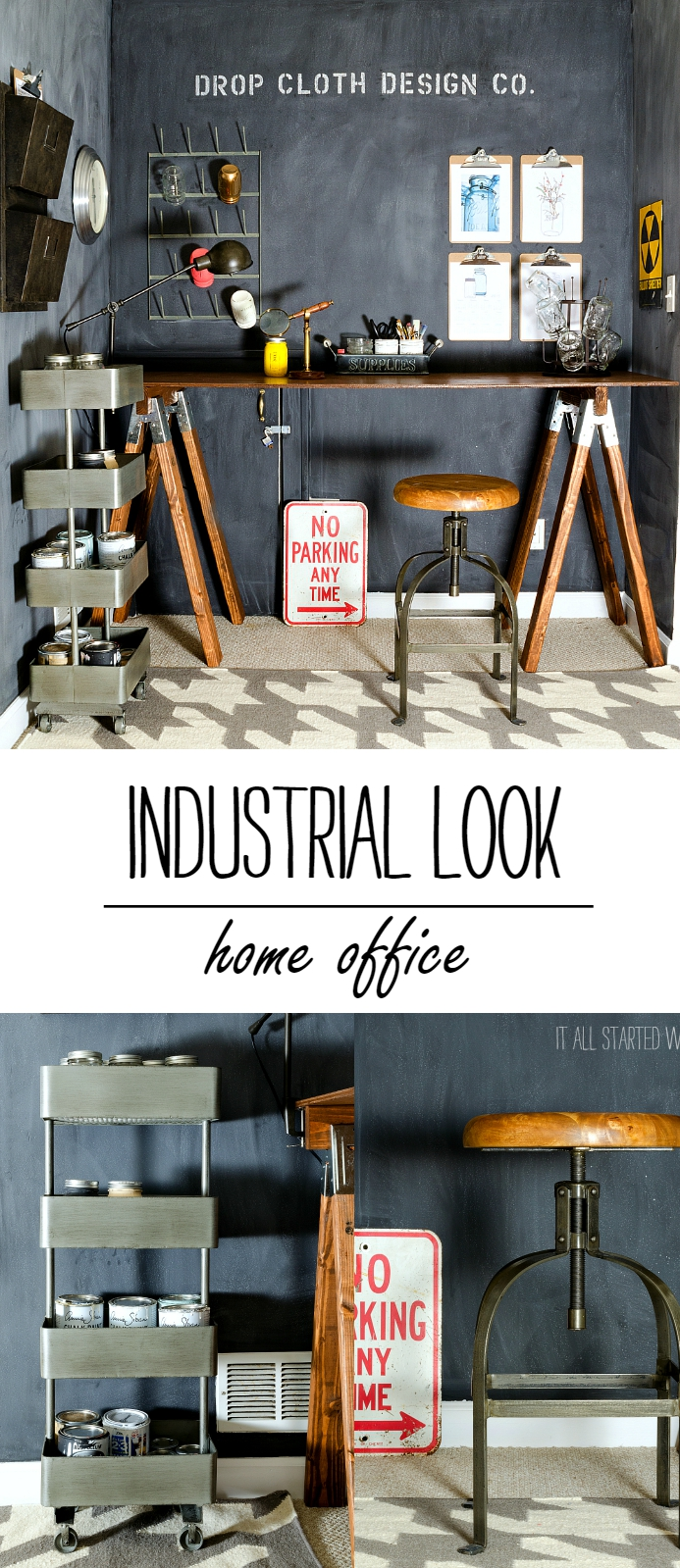 Home Office: Industrial Look With Chalkboard Wall and Sawhorse Desk