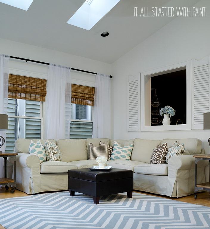 Blue White Tan Room Makeover 7 2