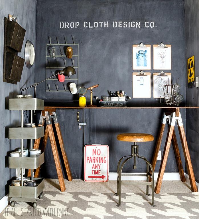 Chalkboard Wall Sawhorse Desk Office Space 2 2
