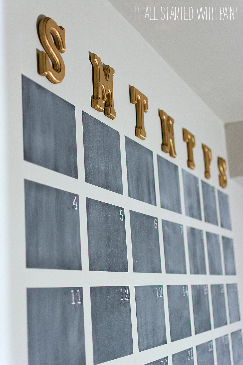 oversized wall calendar with chalkboard paint