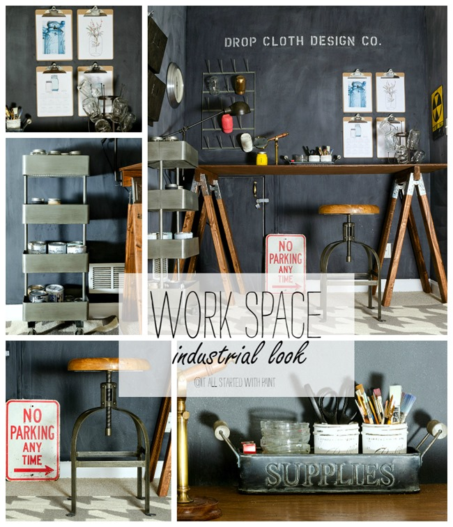 industrial-look-office-space collage