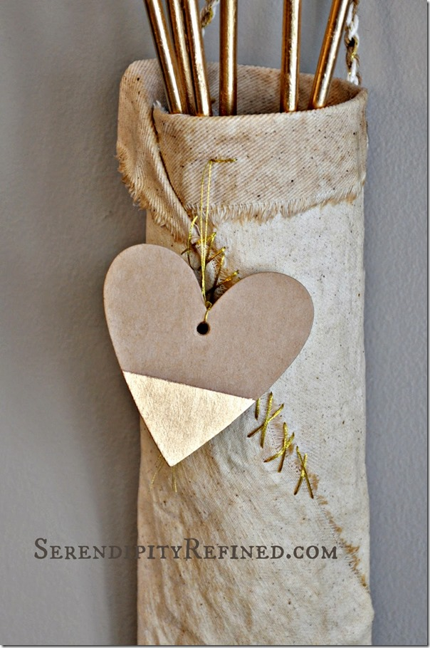 Cupid arrow quiver gold metallic diy valentine decor