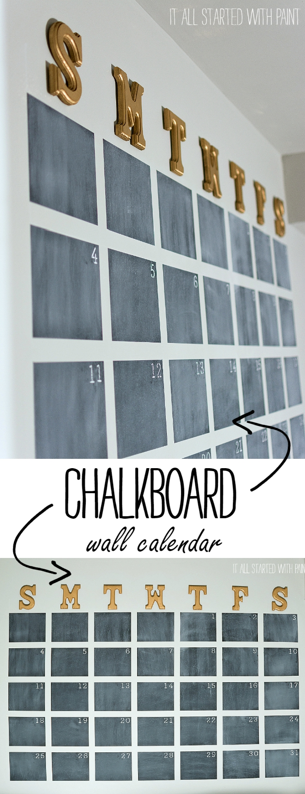 Oversized Wall Calendar Created With Chalkboard Paint