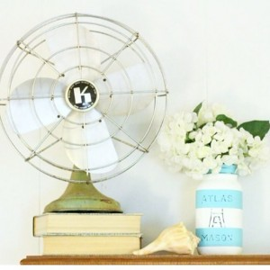 Loving this painted mason jar and vintage fan vignette fromhellip