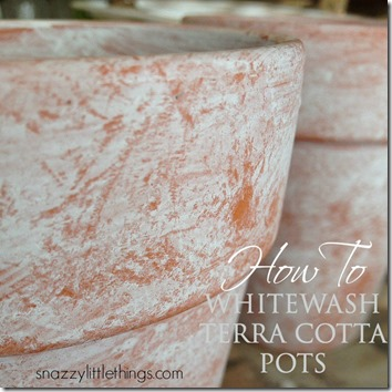 spring decorating whitewash terracotta pots