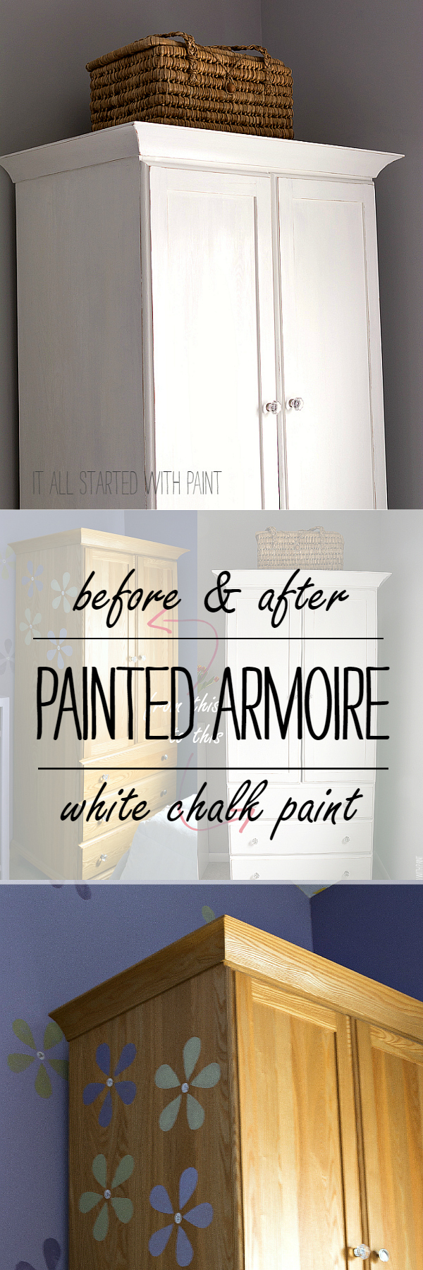 Chalk Painted Armoire: Annie Sloan Pure White Chalk Paint Used on Armoire - Painted and Distressed