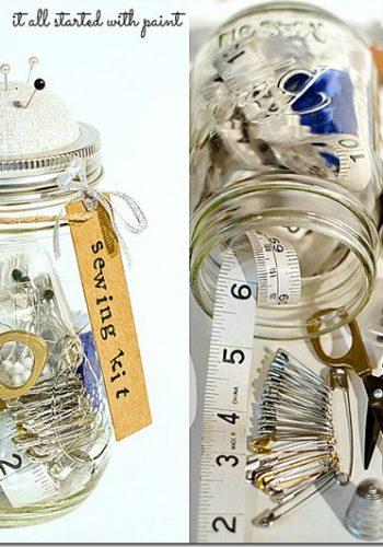 mason jar craft idea sewing kit