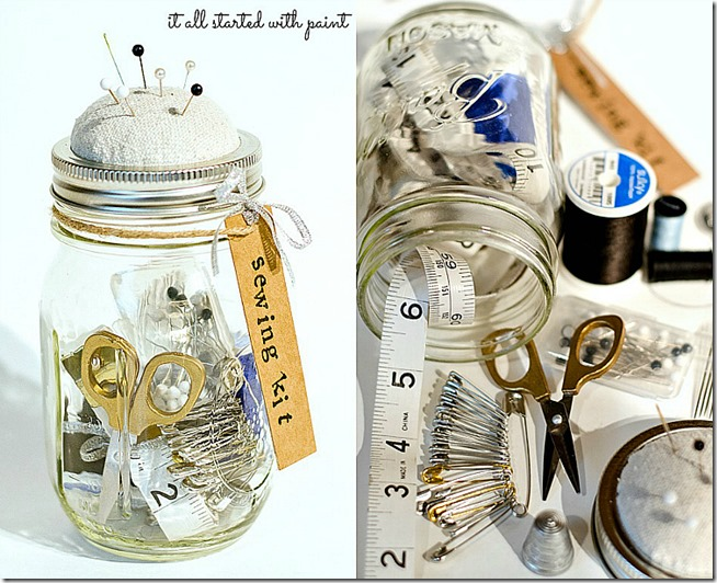 mason jar craft idea sewing kit