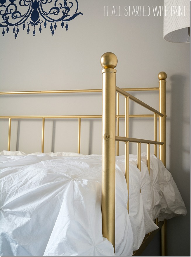 Inspirational gold painted bed spray painted with rustoleum metallic