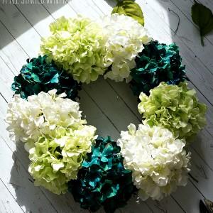 spring wreath ideas using faux hydrangea