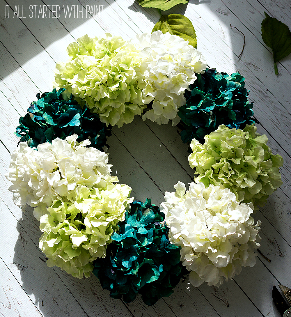 spring wreath ideas using faux hydrangea