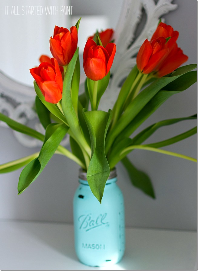 painted-mason-jar-vase-with-orange-flowers 9