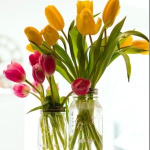 mason jar and tulips