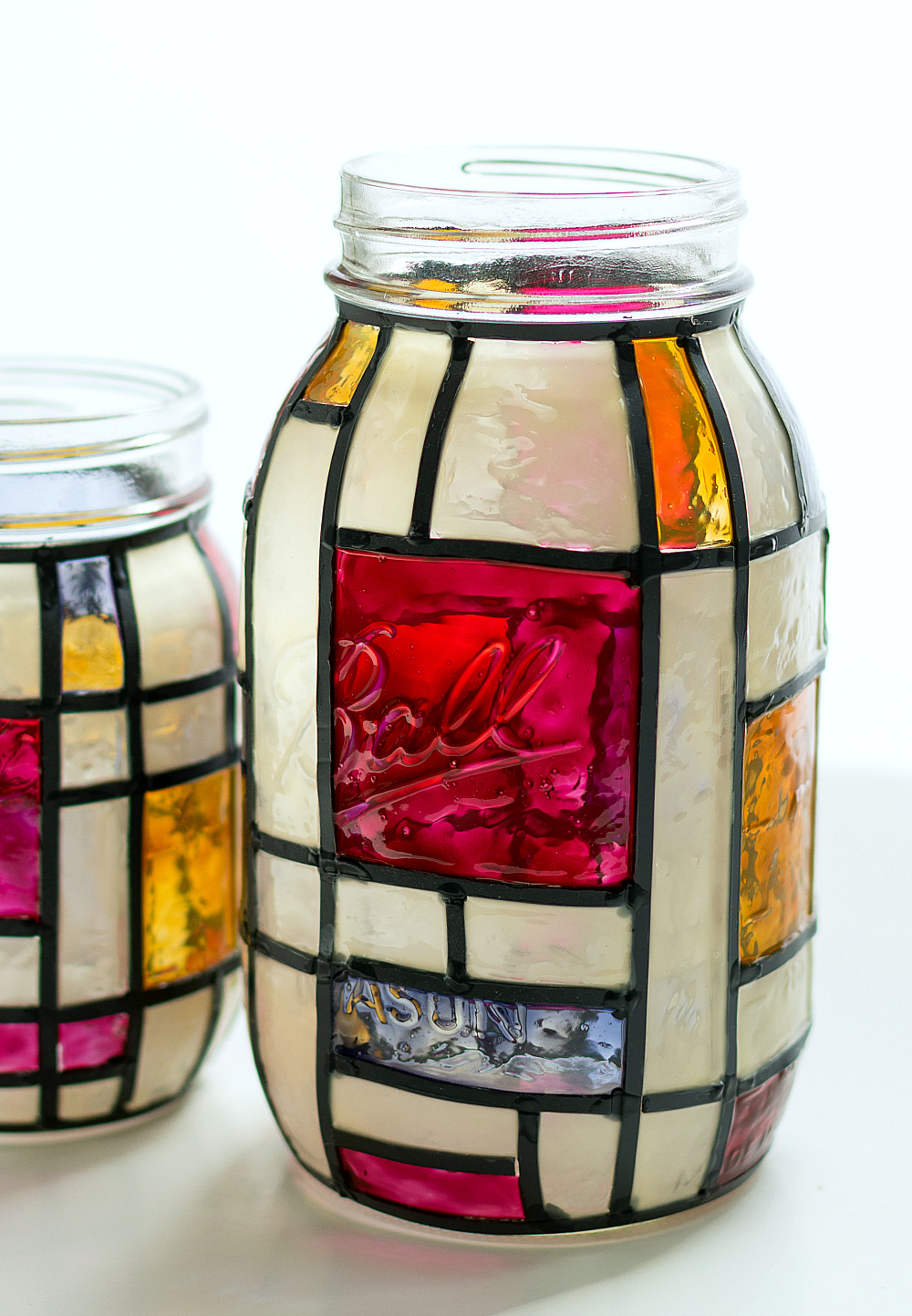 mason jars crafts mondrian stained glass jars 2390