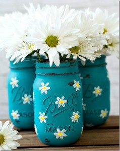 painted mason jar with flowers