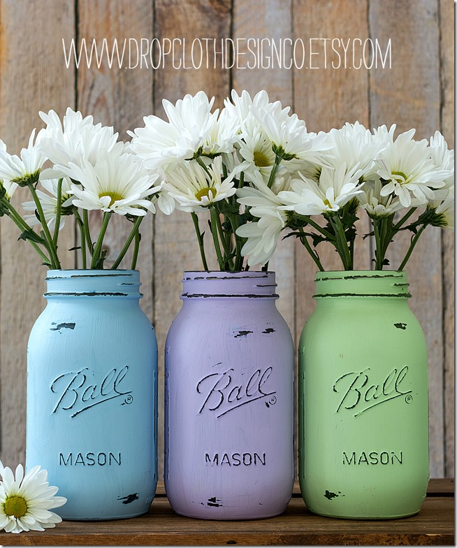 pastel-painted-mason-jar-vases-wedding-shower-centerpieces 2