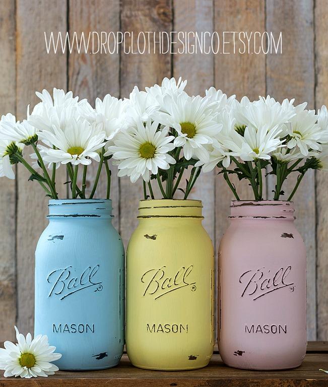 pastel painted mason jar vases wedding shower centerpiecesjpg