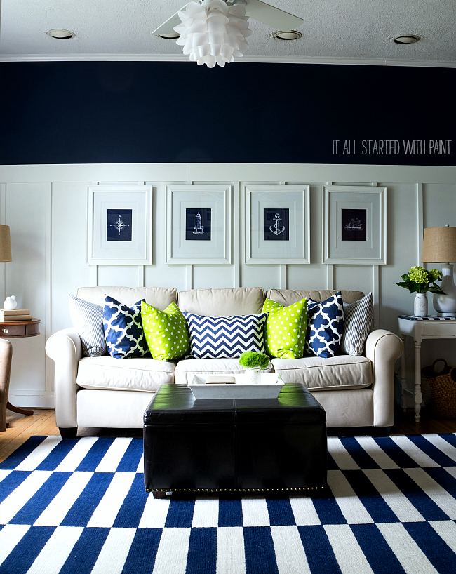 Blue And White Striped Rug, Board and Batten Walls, Navy Walls