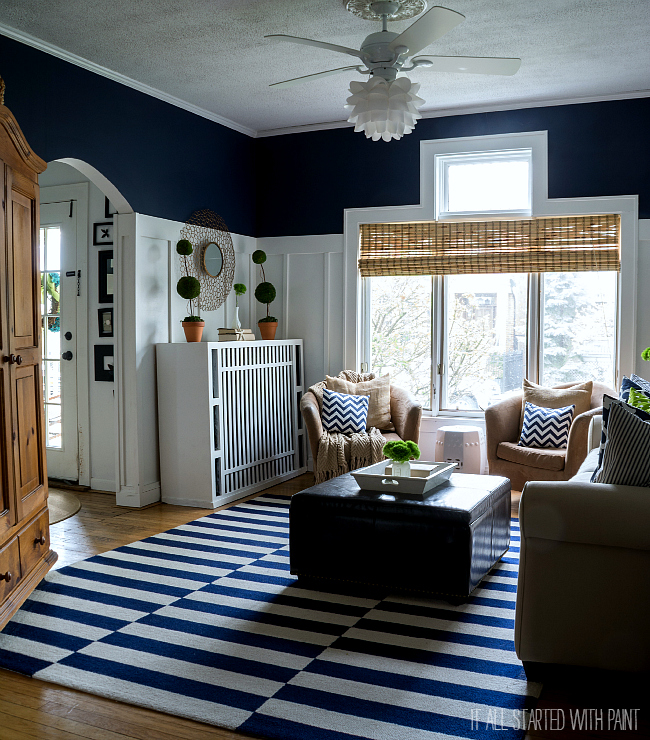 Navy and White Living Room Coastal Decor
