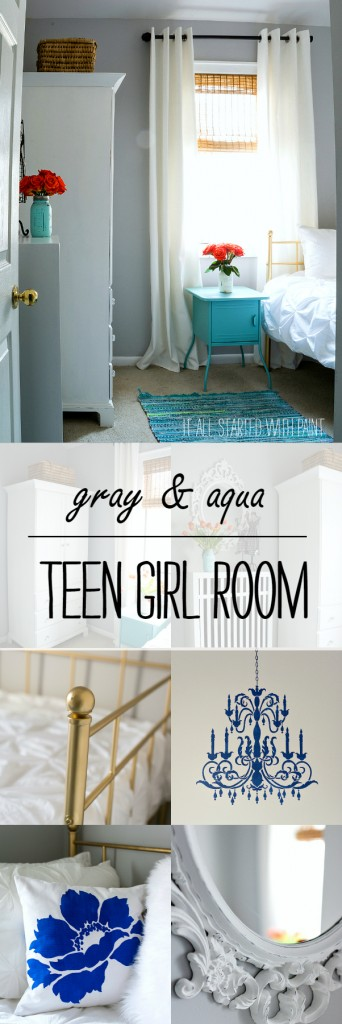 Teen Girl Bedroom Decorating Ideas In Gray And Aqua
