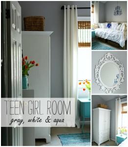 Teen Girl Bedroom Ideas: Gray, White & Aqua