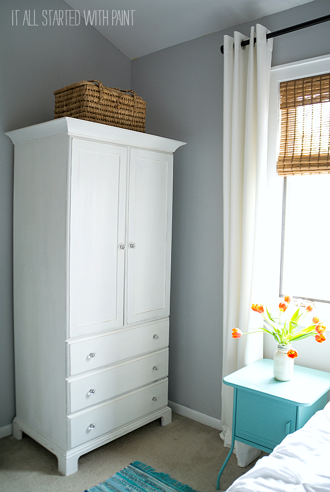 Gray, White, Aqua Blue Girl Room
