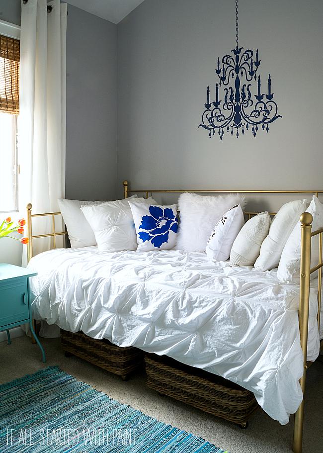 Gray White Aqua Bedroom