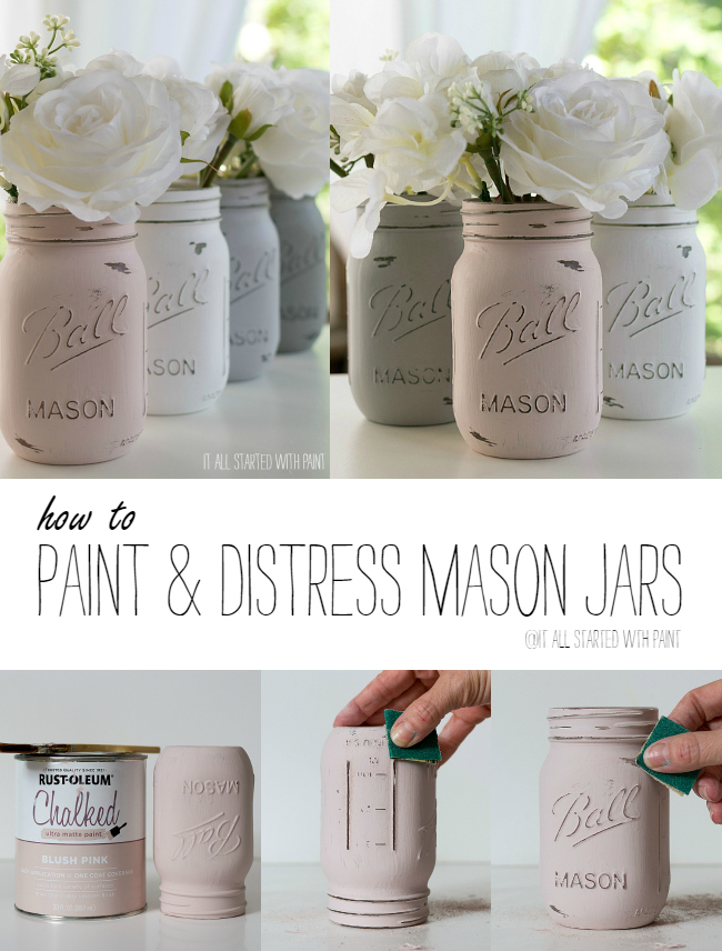 Decorated Mason Jars For Sale Stunning How To Paint And Distress Mason Jars Inspiration