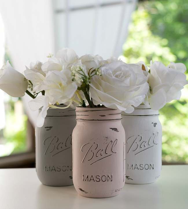 """painted-distressed-mason-jars-pink-grey-chalk-paint"
