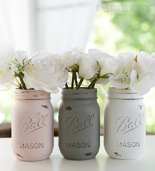 How to Paint & Distress Mason Jars: Pink, Gray, White Mason Jar Set in Chalk Paint from Rustoleum